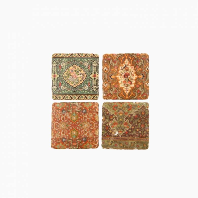 Set Of 4 Liberty Style Print Ceramic Coasters