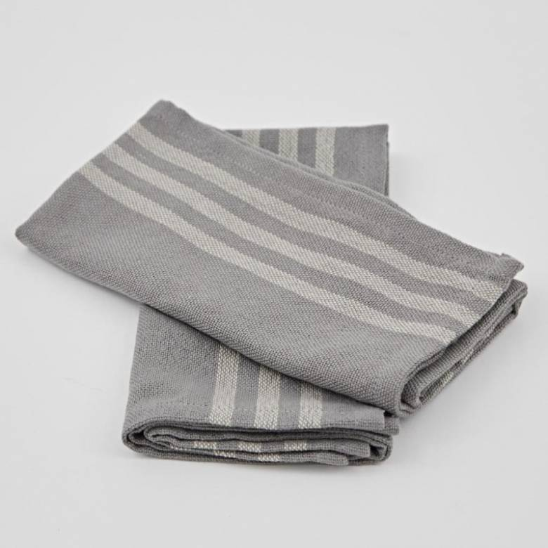 Set Of 4 Maxime Napkins In Grey Made From Recycled Bottles