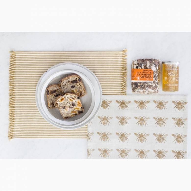 Set Of 4 Recycled Honey Bee Napkins In Mustard