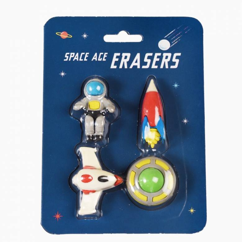 Set Of 4 Space Age Erasers