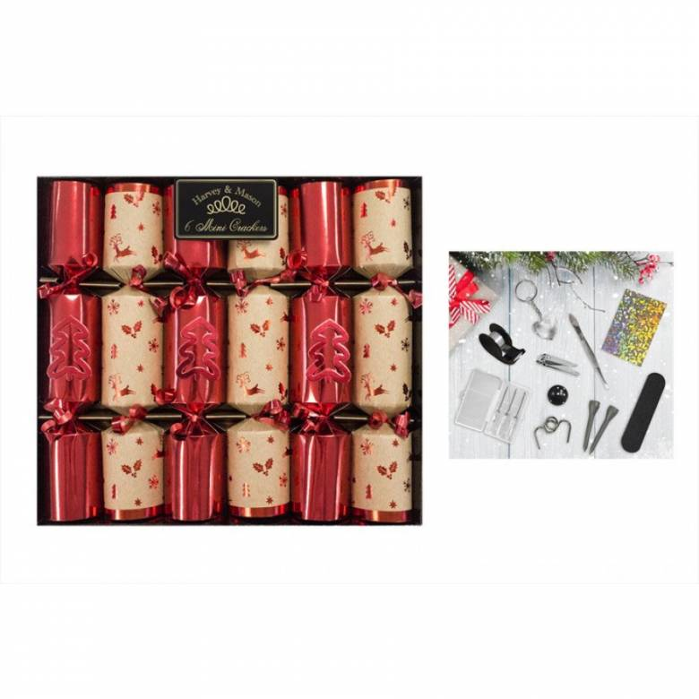 Set Of 6 Mini Red & Craft Paper Luxury Crackers