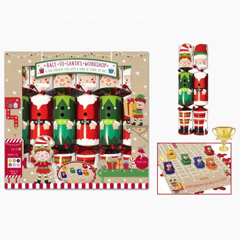 Set Of 6 Race To Santa's Workshop Christmas Crackers