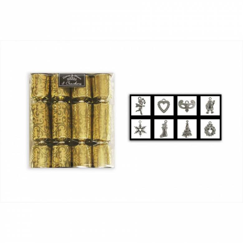 Set Of 8 Mini Gold Damask Christmas Crackers