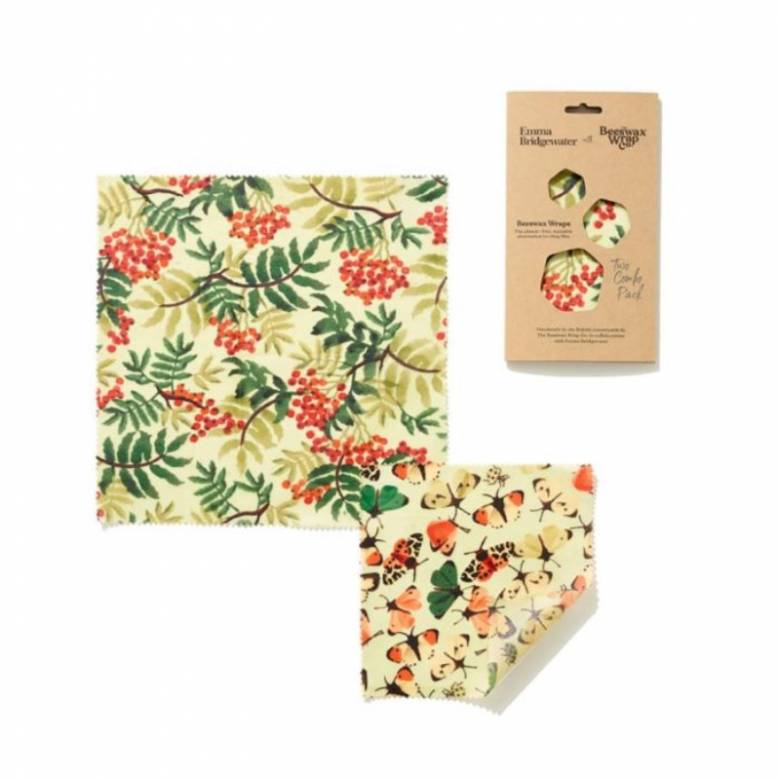 Set Of Two Beeswax Wraps In Rowan & Butterfly Print