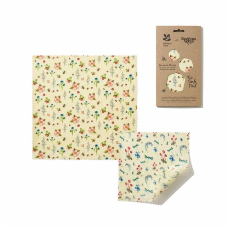 Set Of Two Beeswax Wraps In Summer Blooms Print