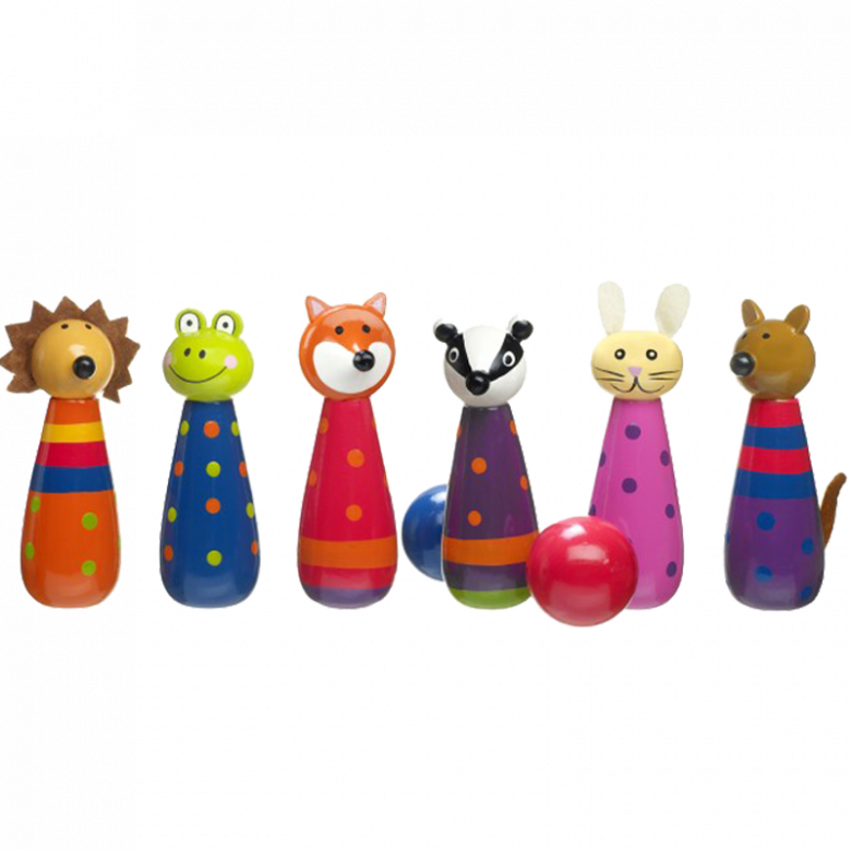Set Of Wooden Woodland Friends Animal Skittles 3+