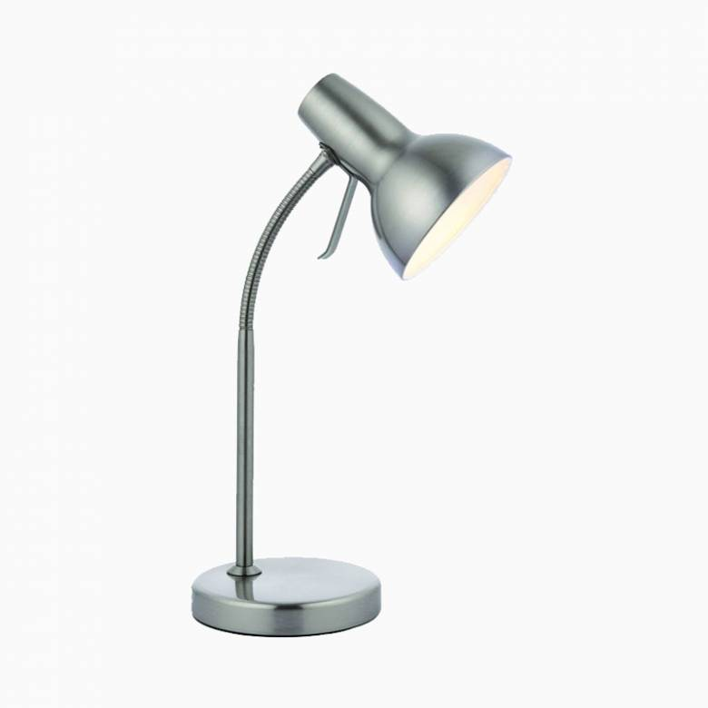 Silver Flexi Stem Desk Lamp With USB