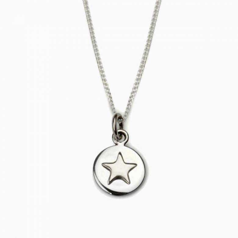 Silver Star Good Luck Circle Necklace