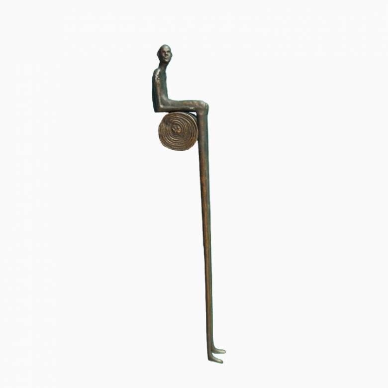 Sitting & Waiting Man Metal Sculptural Ornament