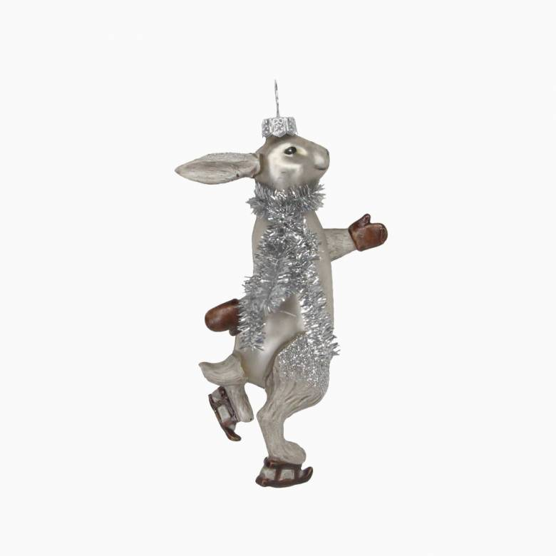 Skating Hare With Tinsel Painted Glass Christmas Decoration