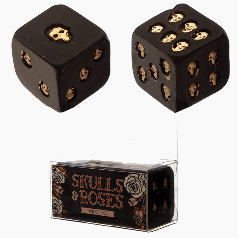 Set Of 2 Black And Gold Skull Dice