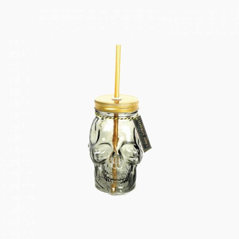 Skull Mason Drinking Jar With Straw
