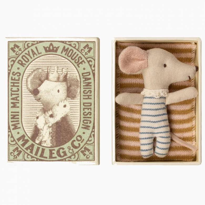 Sleepy/Wakey Baby Boy Mouse In Matchbox By Maileg 0+