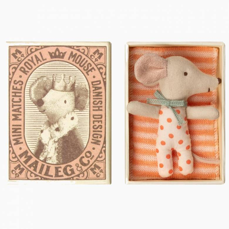 Sleepy/Wakey Baby Girl Mouse In Matchbox By Maileg 0+
