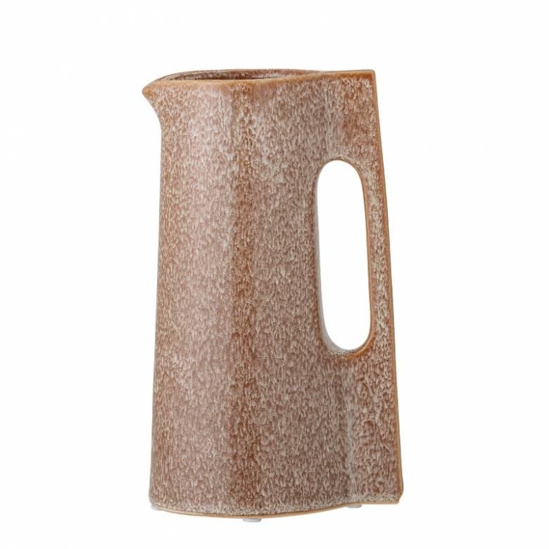 Slim Angular Stoneware Jug In Mottled Terracotta