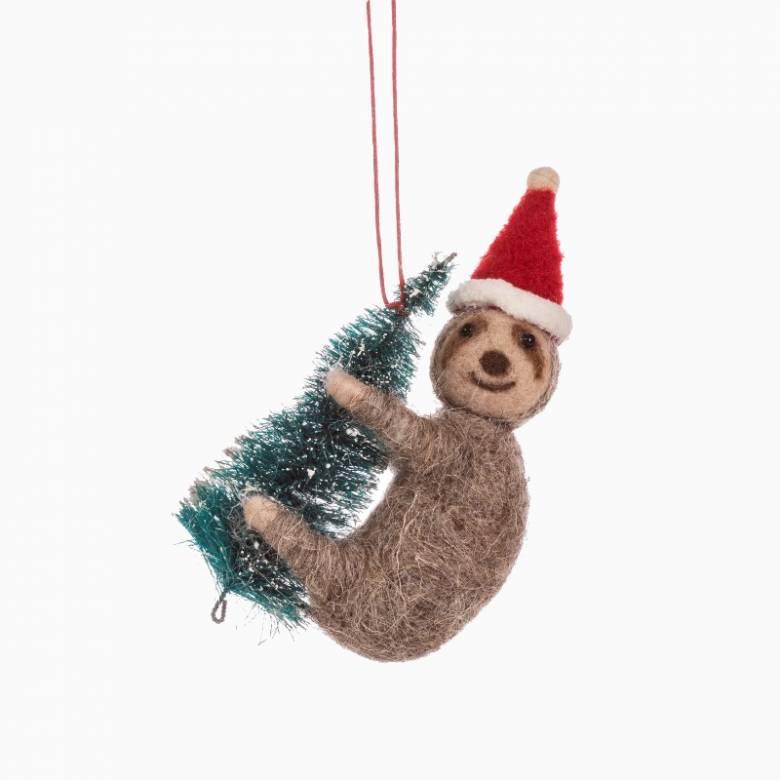 Sloth With Christmas Tree Felt Hanging Christmas Decoration