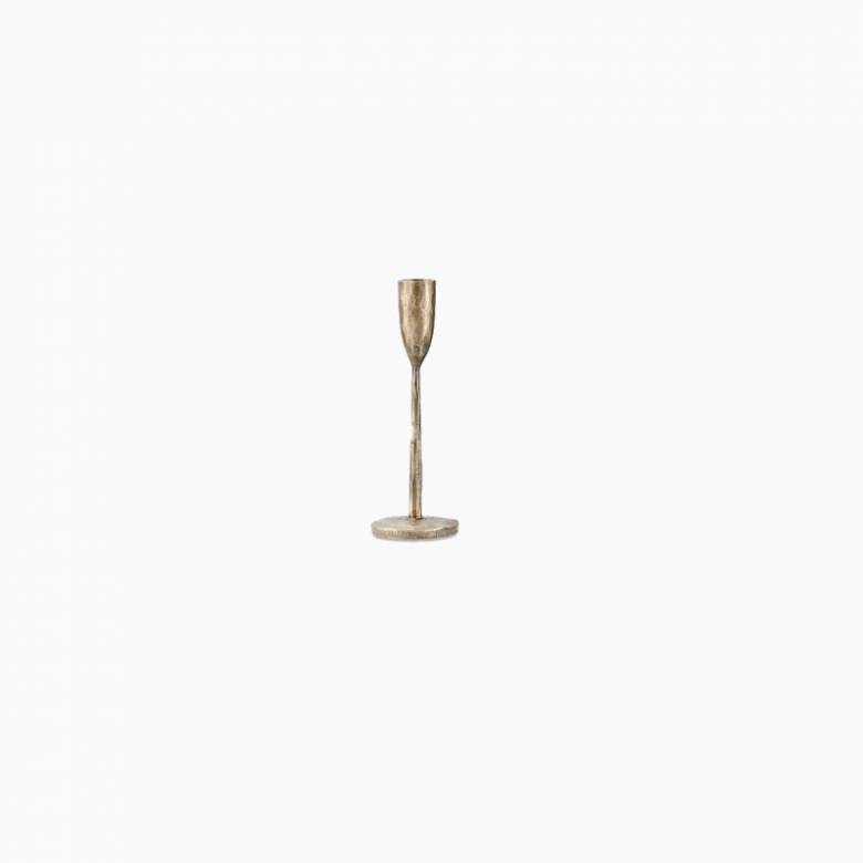 Small Antiqued Brass Candlestick H:20cm