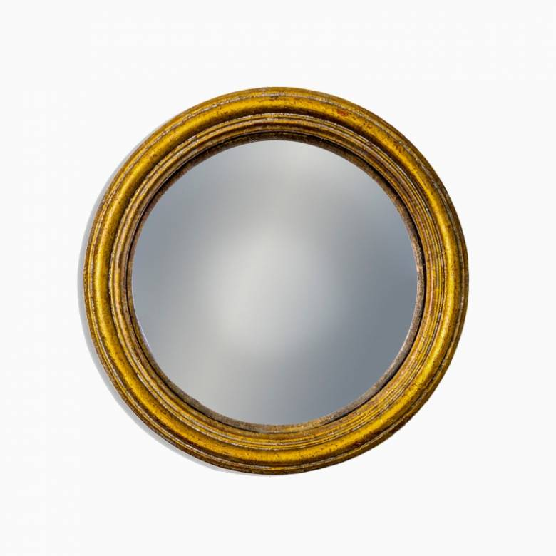 Small Antiqued Gold Thin Framed Convex Mirror D:13.5