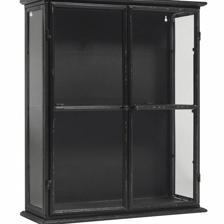 Small Black Glazed Metal Wall Cabinet With Glass 50x20x60cm ...