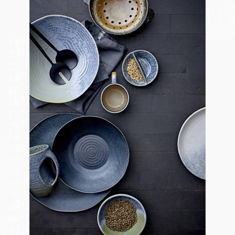Small Blue Stoneware Split Serving Bowl