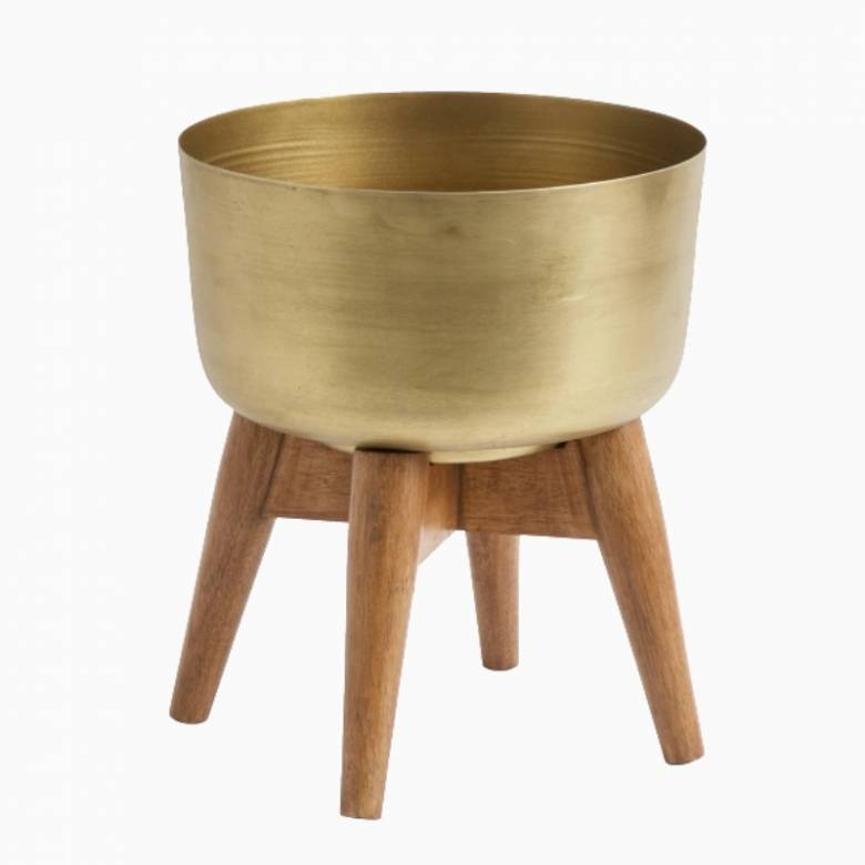 Small Brass Planter With Wooden Base 24cm
