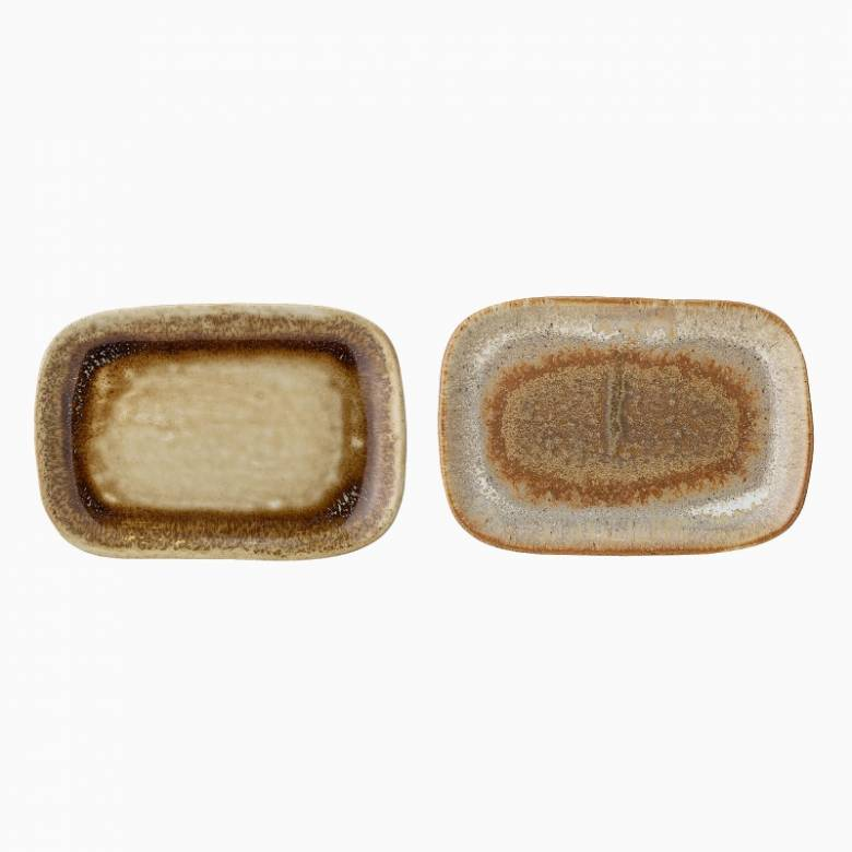 Small Brown Glazed Stoneware Dish - Various Designs