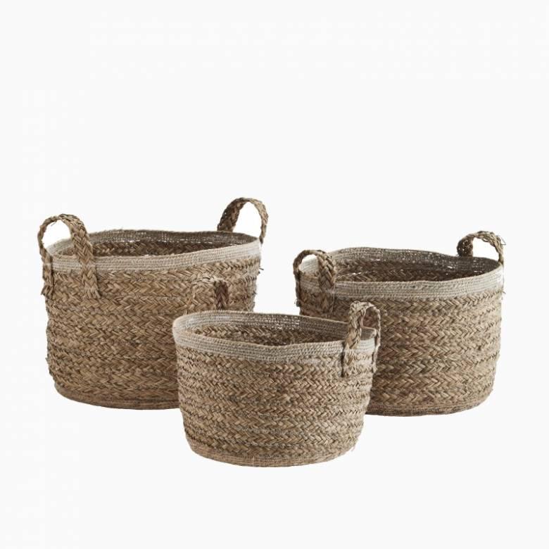 Small Circular Basket With Handles & Cotton Trim 34x21cm