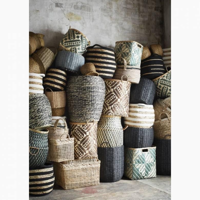 Medium Circular Basket With Handles & Cotton Trim 37x25cm