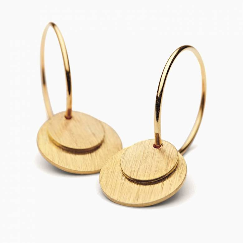 Small Gold Coin Hoop Earrings By Pernille Corydon
