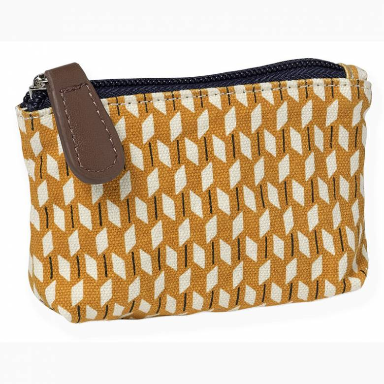 Small Coin Purse With Yellow Geometric Pattern 10x7x4cm