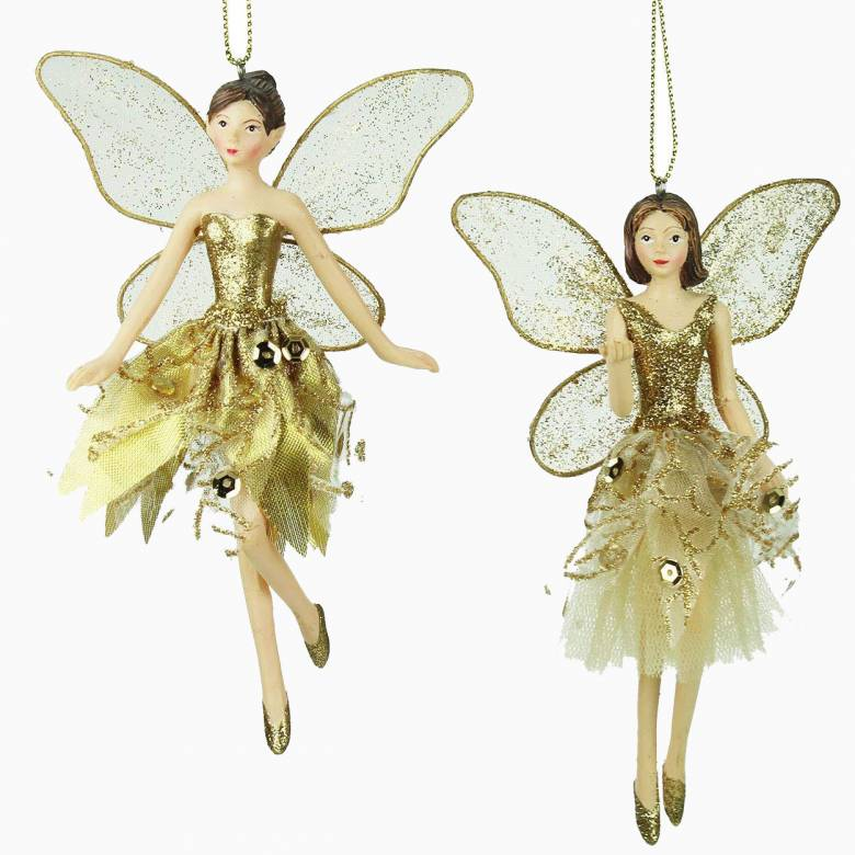 Small Gold Fairy Ballerina Christmas Decoration