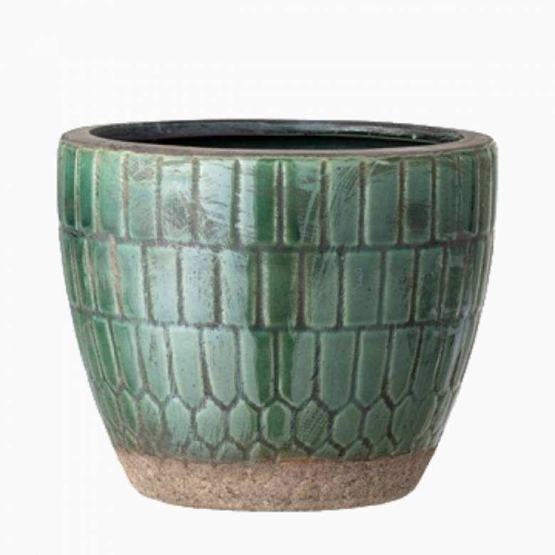 Small Green Mosaic Terracotta Flower Pot Cover