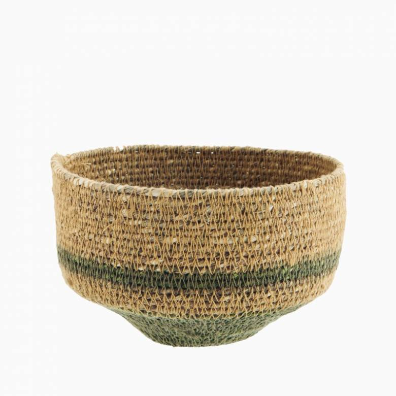 Small Green & Natural Seagrass Tapered Basket