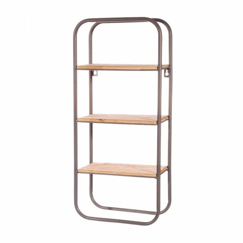 Small Grey Metal & Wood Wall Mounting Shelf Unit