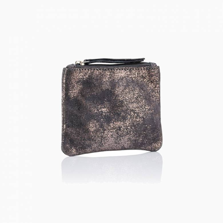 Small Leather Coin Purse In Pewter