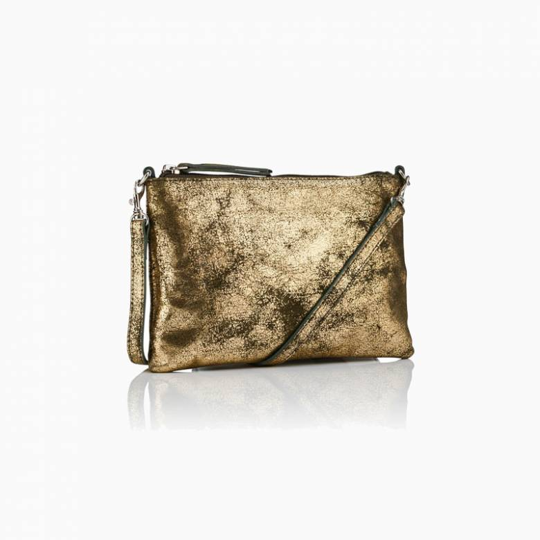 Small Leather Crossbody Bag In Gold