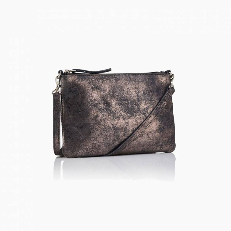 Small Leather Crossbody Bag In Pewter