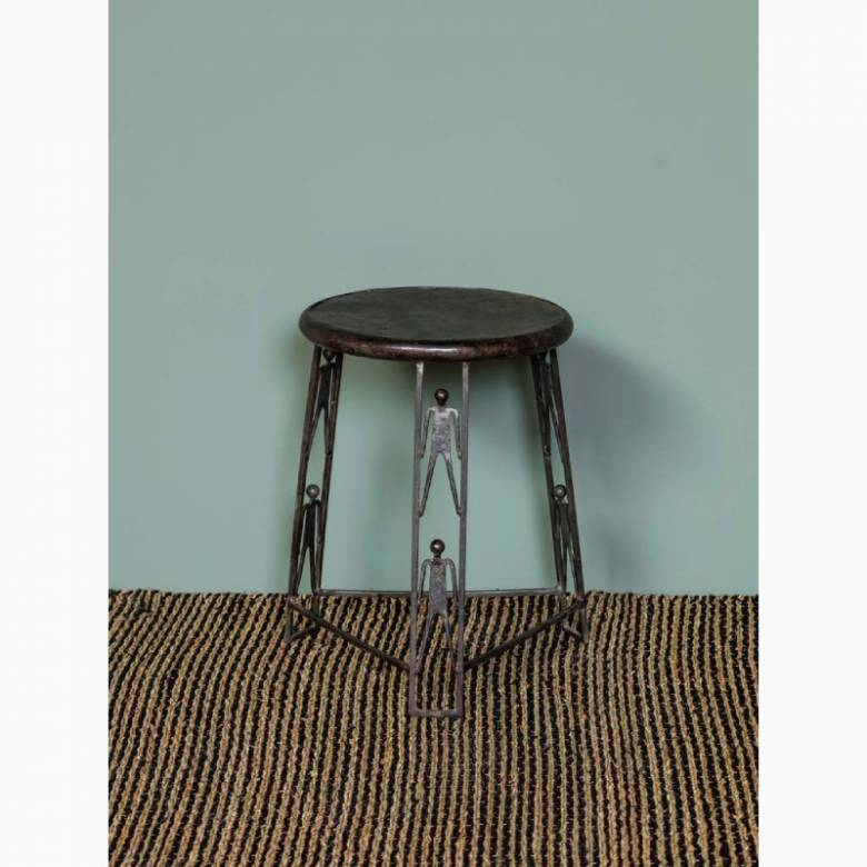 Small Metal Stool With Figures On Legs