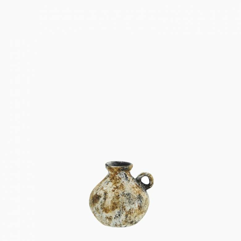 Small Mottled Multi-Colour Terracotta Vase With Tiny Handle 8cm