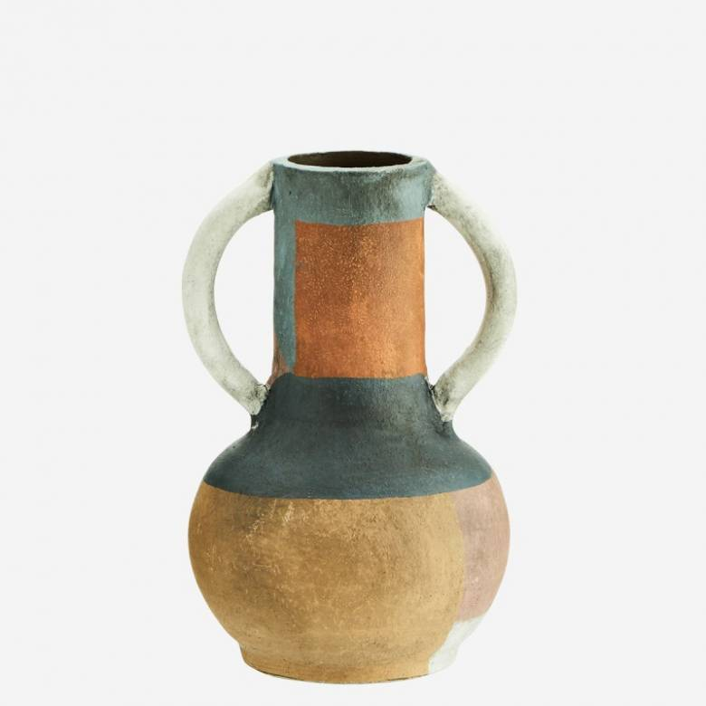 Small Multi Coloured Terracotta Vase With Large White Handles