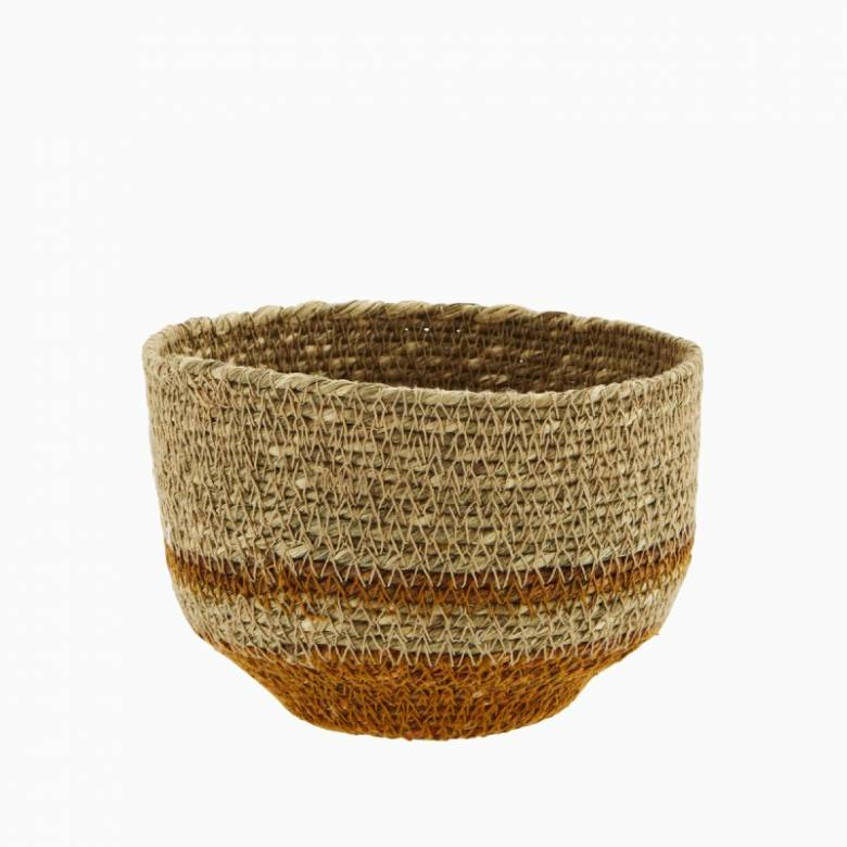 Small Orange & Natural Seagrass Tapered Basket