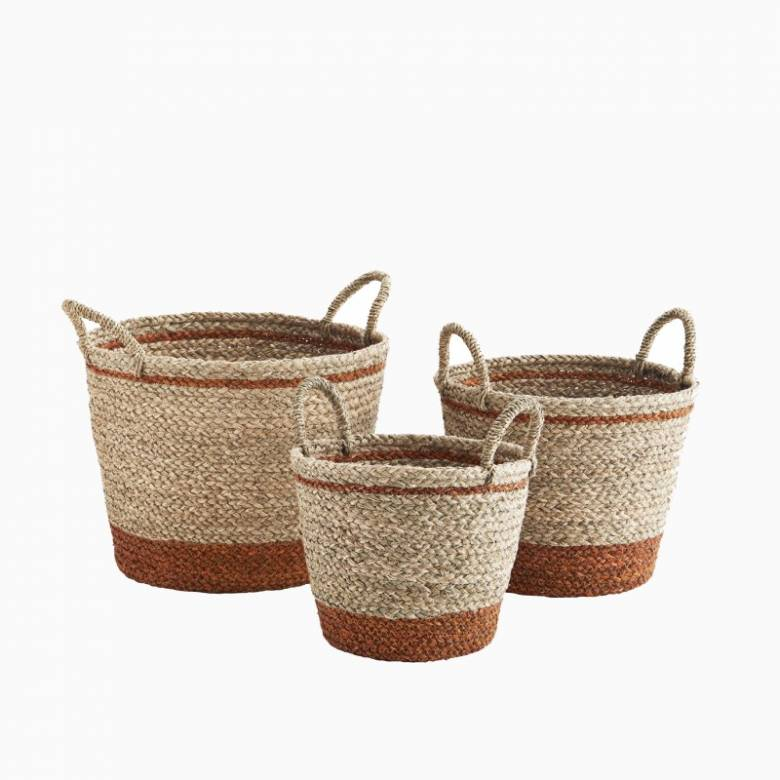 Small Orange Striped Seagrass Basket With Handles 28x24cm