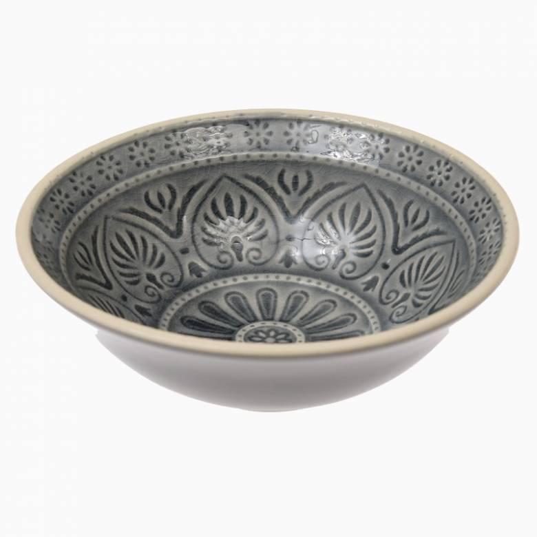 Small Patterned Mezze Bowl In Grey