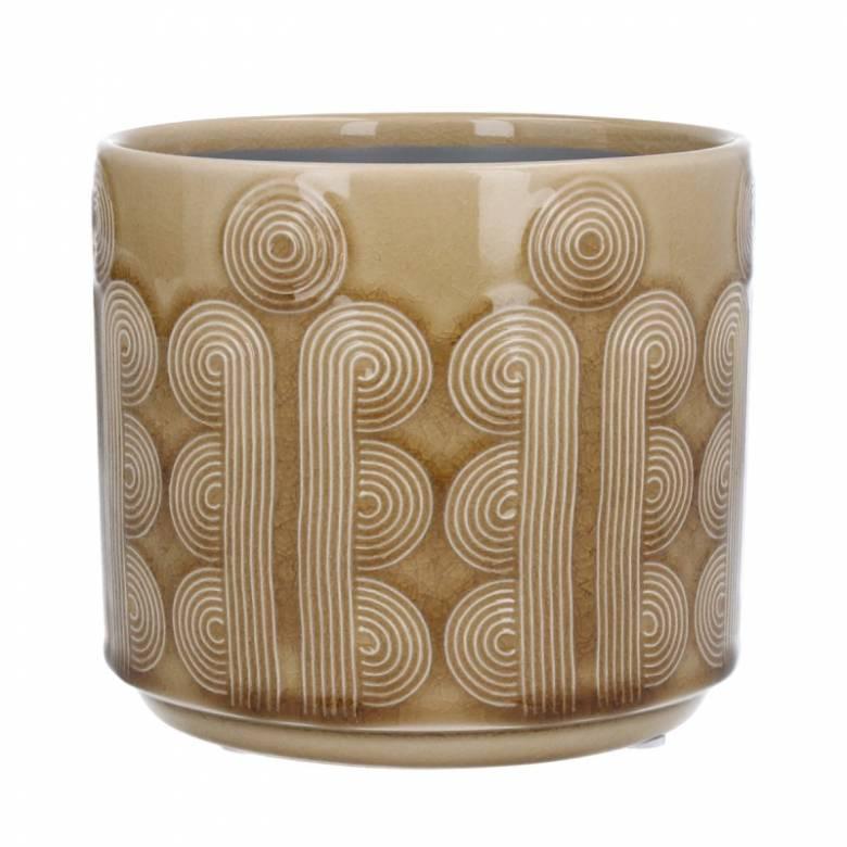 Small Retro Circles Ceramic Flowerpot Cover In Mustard