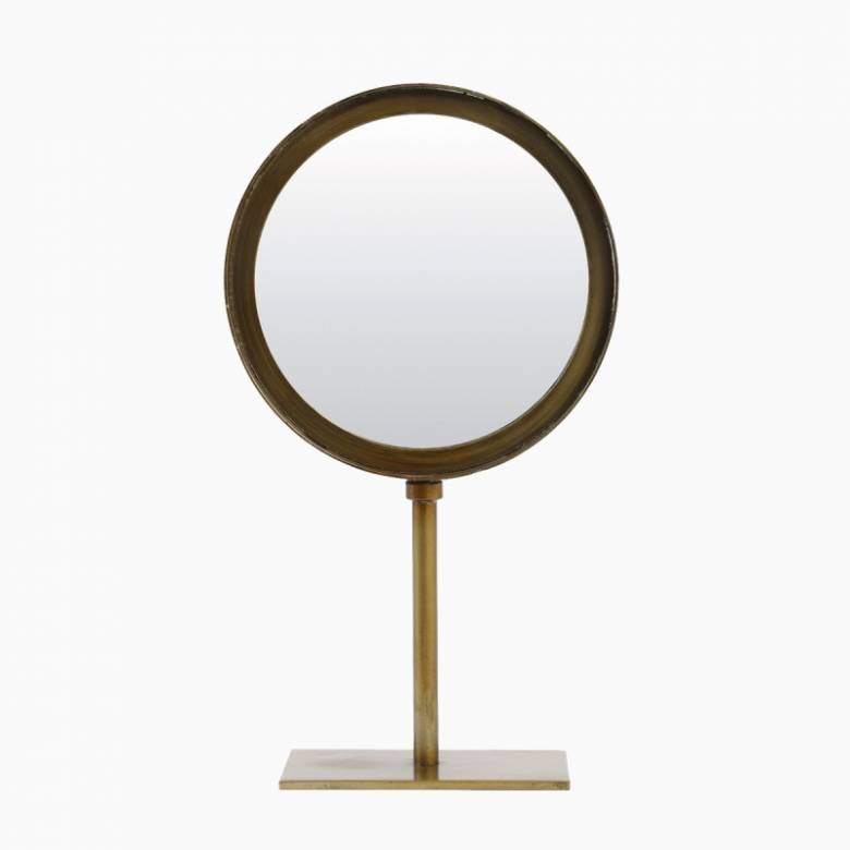 Small Round Mirror With Metal Frame On Stand In Brass 20x35cm