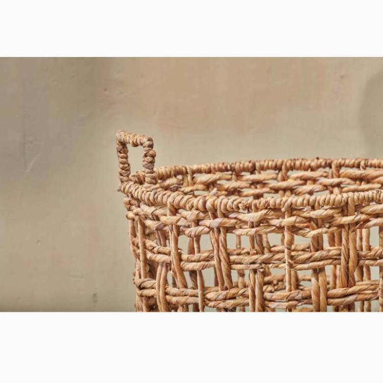 Small Round Woven Storage Basket With Handles