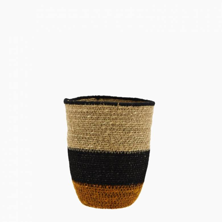 Small Seagrass Basket With Orange & Blue Stripes H:16cm