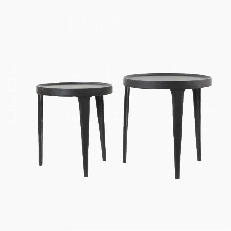 Large Simple Black Metal Side Table With Curved Lip H:43cm
