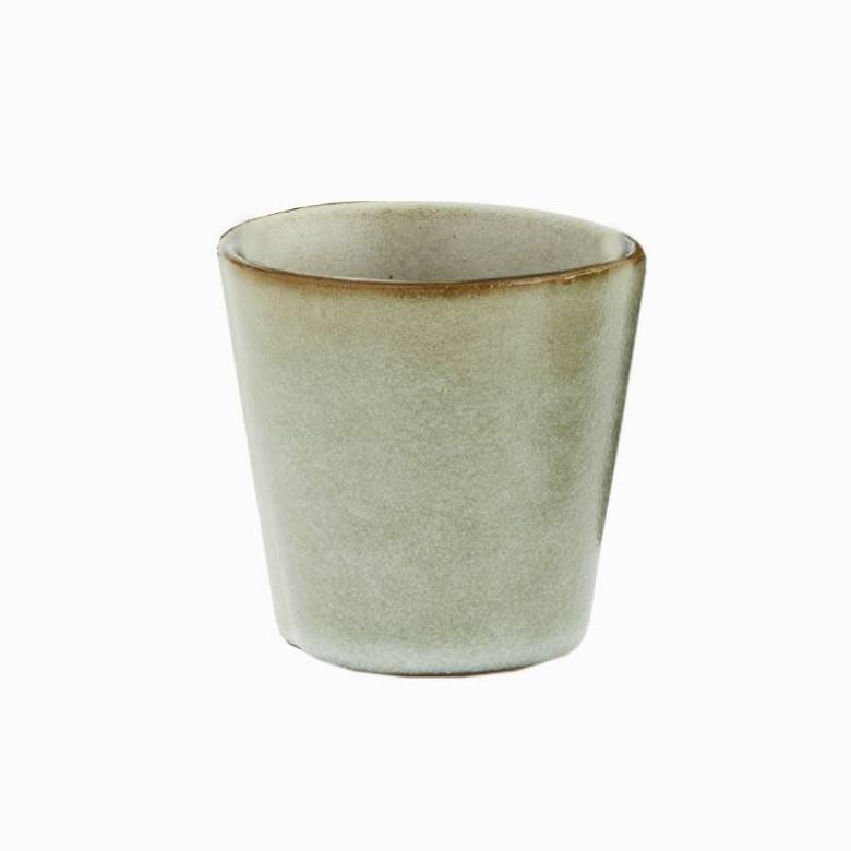 Small Stoneware Cup In Green Lichen