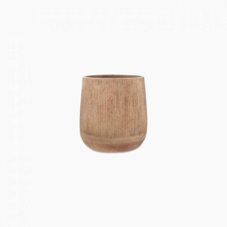 Small Tall Planter In Distressed Terracotta H: 39.5cm